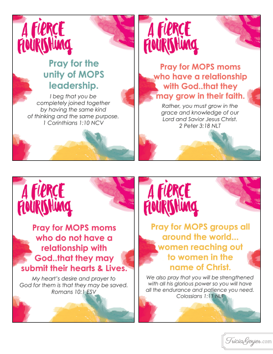 Are you part of a MOPS (Mothers of Preschoolers) group this year? Here are some guided prayer cards for your group to use!