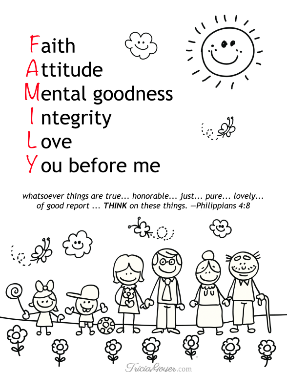 Download and print of Tricia Goyer's coloring page about having a positive family dynamic!