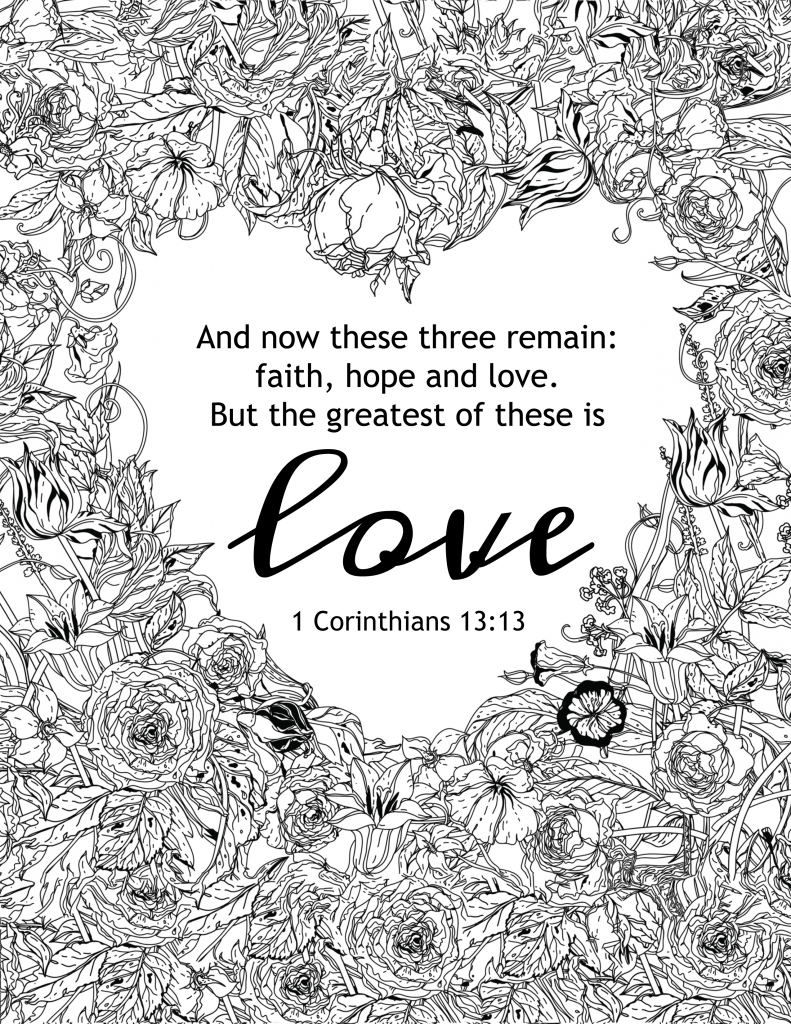 Free coloring pages love -  The Greatest Of These Is Love Coloring Page
