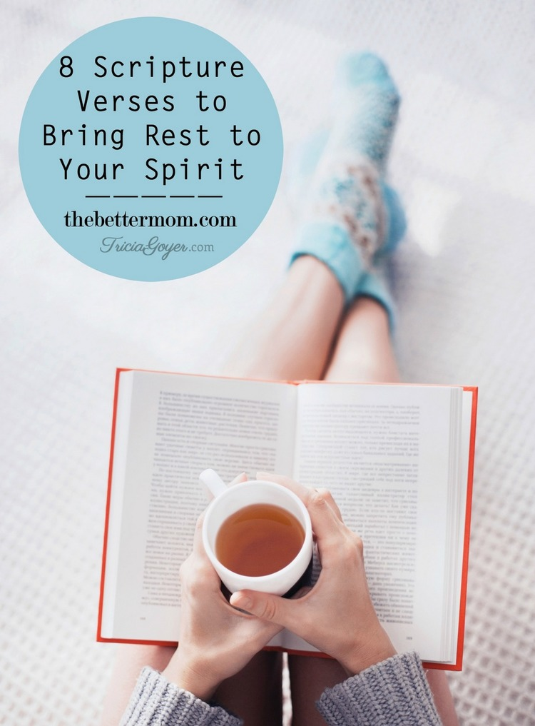 8 verses to bring rest to your spirit! triciagoyer.com thebettermom.com