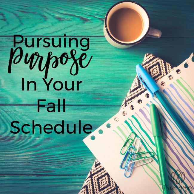 pursuing purpose in your fall schedule