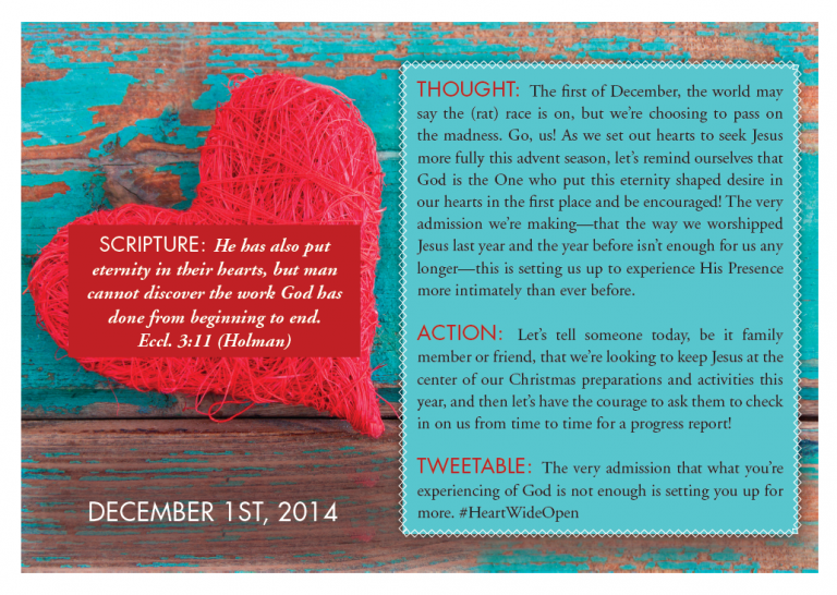 A Heart Wide Open Christmas: Day 2 | 3 Perfect Gifts to Give Yourself: Time, Focus, & Remembrance