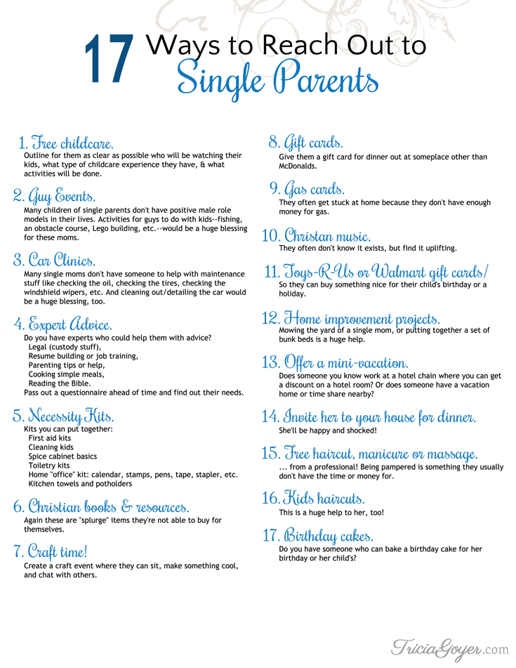 Know a single mom? Want to help her? Here are 17 ways that will do just that!
