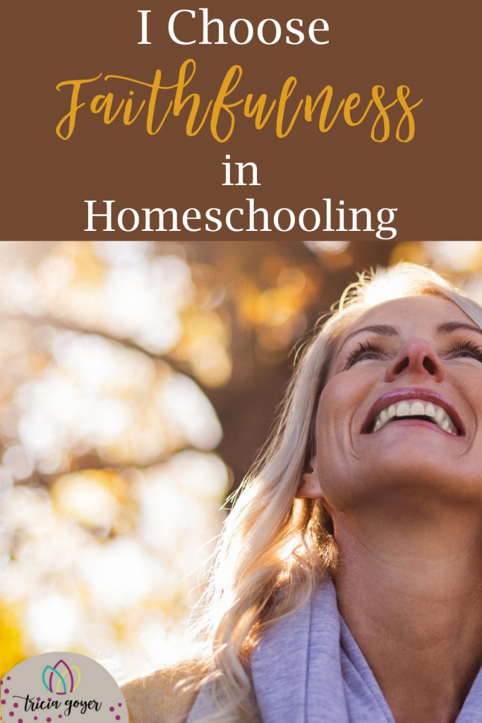 As we begin another homeschool year, we have choices every day. Will we obey the Lord by His grace? Or will we walk after our flesh? Today I choose faithfulness in homeschooling. But, this can only be done by the power of God working in my life!