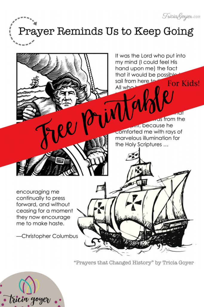 Free Coloring Page Printable to remind us about Prayers that Change History