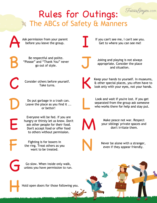 rules for outings - the abcs of safety