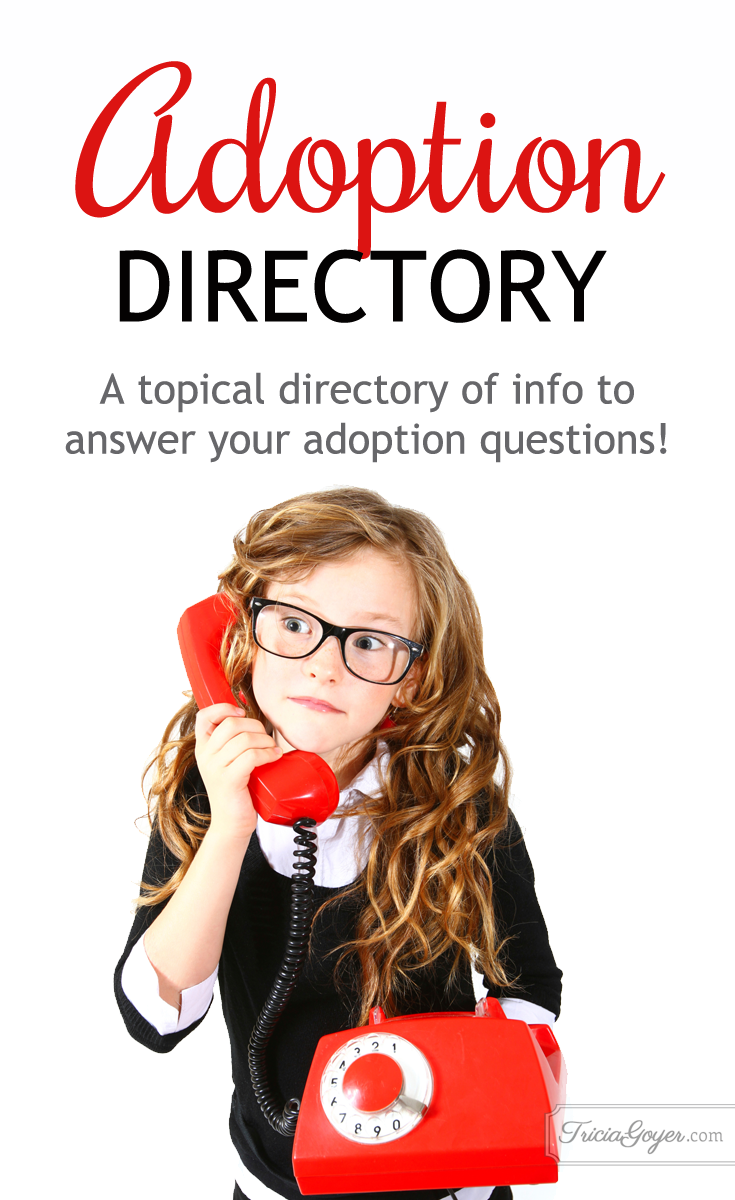 Whether you are interested in learning more about adoption, are in the process, or have adopted children of your own, Tricia Goyer shares a directory for easy-access information and resources about adoption! triciagoyer.com