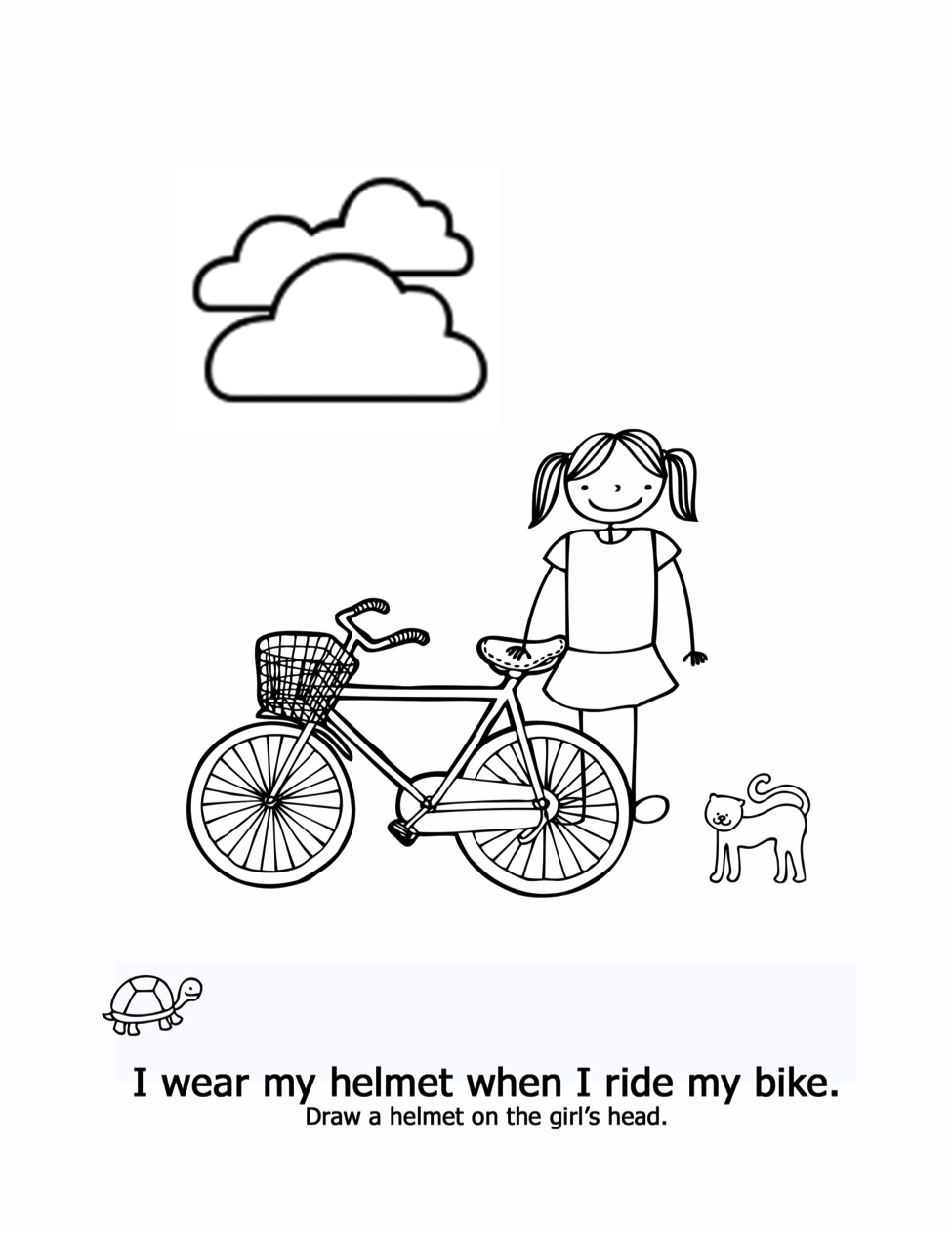 Bike safety coloring page - I Am Safe by Kimberly Rae