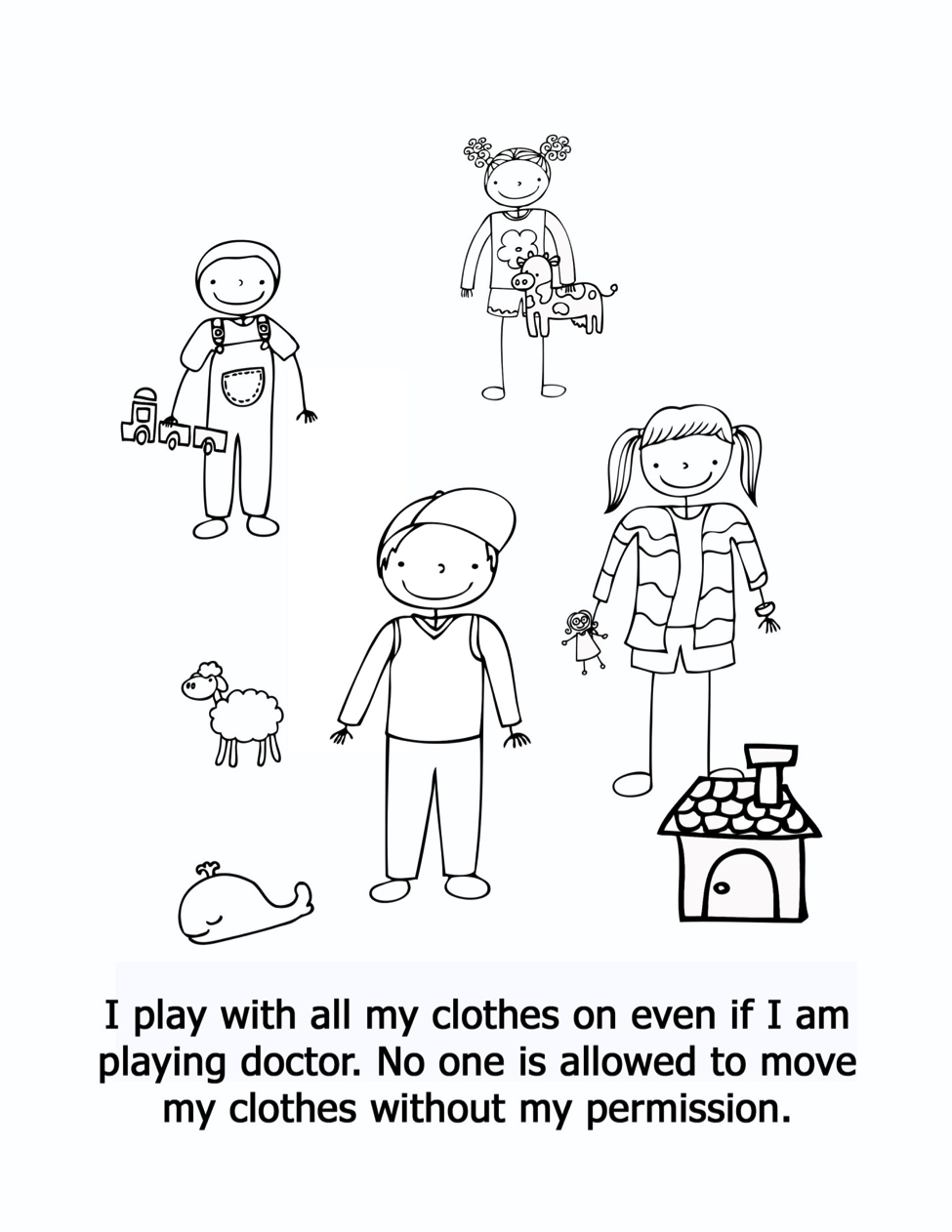 Do not take clothes off coloring page - I Am Safe by Kimberly Rae