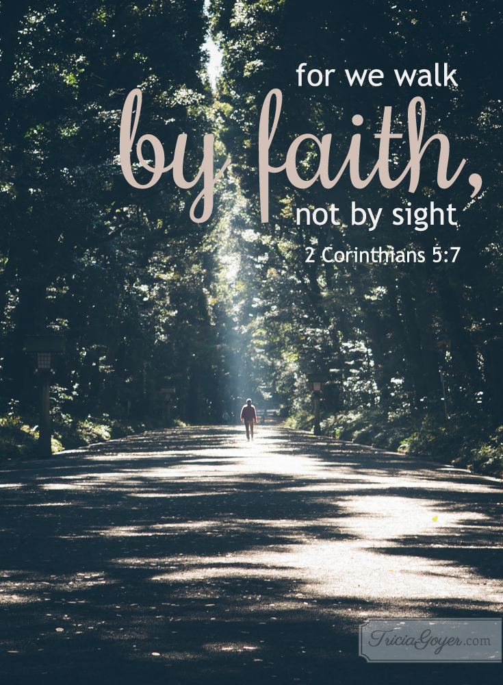 For we walk by faith, no by sight. 2 Corinthians 5:7