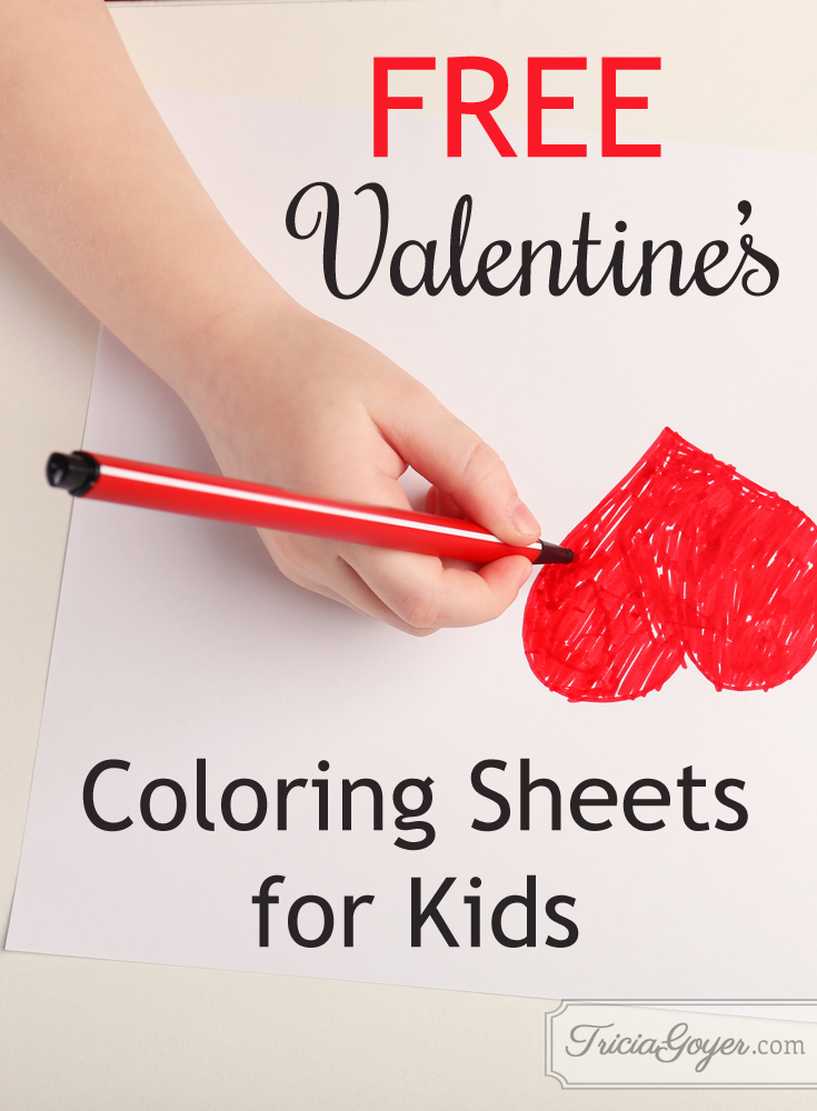 FREE valentine's coloring sheets for kids! triciagoyer.com