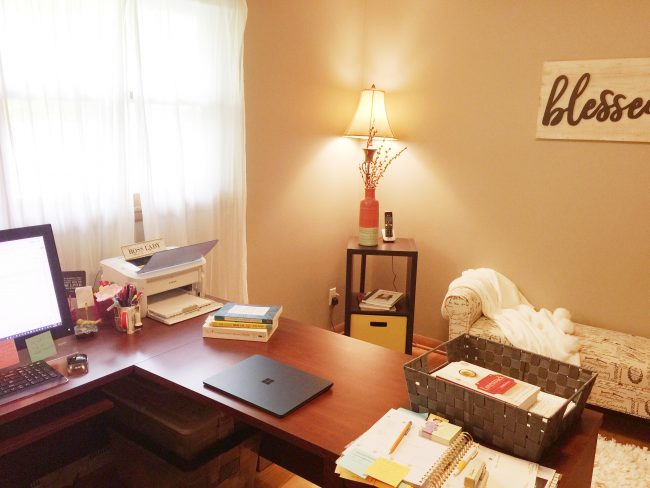Today on Writer Wednesday Becky Kopitzke, author The Cranky Mom Fix, shares a peek at her writing space.