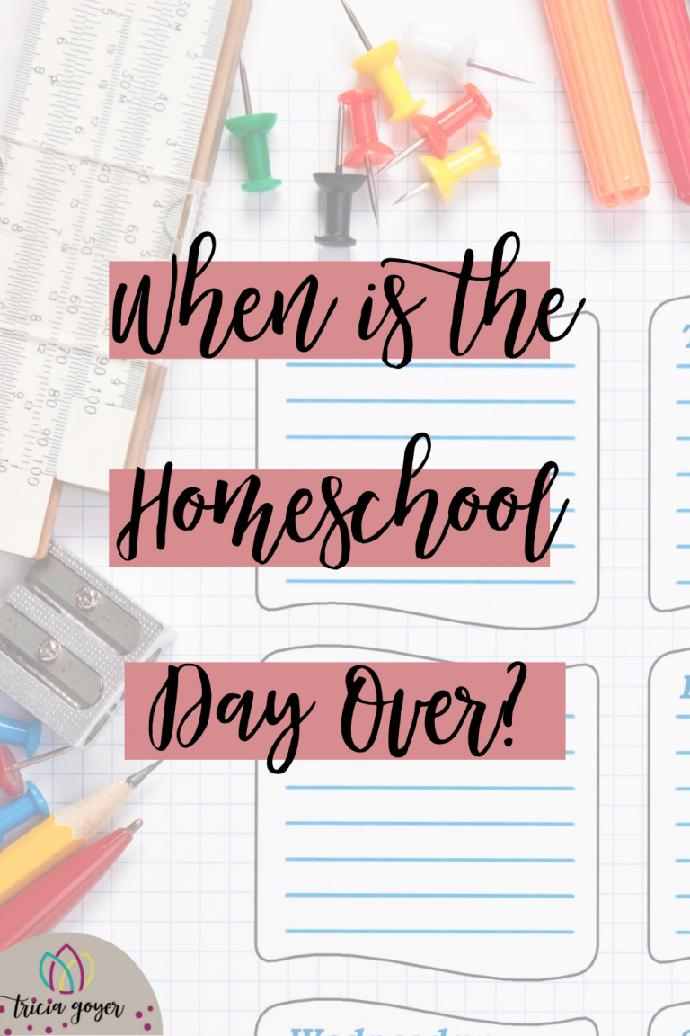 "Out of all the questions that people have about homeschooling, ""What is a typical homeschool day?"" tops the list. While the answer varies with each family, here are a few things to consider when it comes to setting a homeschool schedule, keeping on track, and knowing when is the homeschool day over?"