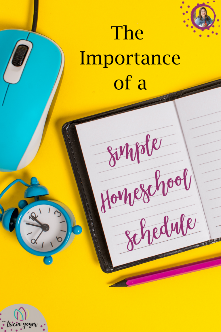 "Does making a school-at-home schedule intimidate you? Do you resist the idea of a schedule ""tying you down?"" Or maybe you love the idea but you just aren't sure where to begin. A simple homeschool schedule can guide your day and help parents and kids focus on what's most important. But before I share my top tips, remember that no schedule is set in stone … simplicity also means flexibility!"